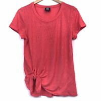 BOBEAU Side Tie T-Shirt Coral Red Pink Short Sleeve Gathered Crew Neck Top Small