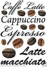 18 x Wandtattoo Kaffee Caffe Espresso Latte Cappuccino Küchen Wand Deko Neu