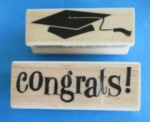 GRADUATION CAP Rubber Stamp CONGRATS! Graduate