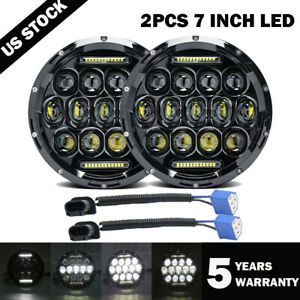 "2X 7"" inch Round LED Halo Headlight Hi/Lo DRL Beam for Jeep Wrangler JK LJ TJ CJ"