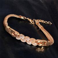 Fashion Gemstone Cuff Bangle Bracelet Adjustable Chain Women Jewelry Gifts