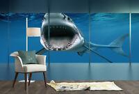 3D Deep Ocean Shark Self-adhesive Kid's Room Wallpaper Bedroom Wall Murals Decal