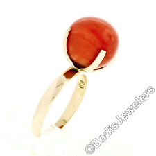 Vintage 18k Yellow Gold Claw Prong 11mm Salmon Coral Ball Bead Solitaire Ring