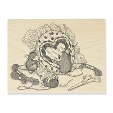 HOUSE MOUSE RUBBER STAMPS CROSS STITCH HEART NEW wood STAMP