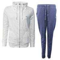 Puma French Terry Womens Full Sweat Suit Track Bottoms White Navy 839313 01 M11