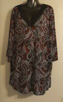 BEAUTIFUL WOMAN'S MAGGIE BARNES 3/4 SLEEVE PAISLEY PRINT TUNIC/ BLOUSE. SIZE 4X