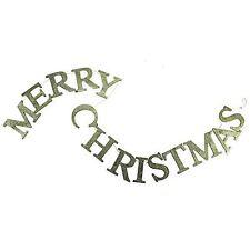 Gisela Graham brillant doré en bois Joyeux Noël Banniers de Guirlande décoration