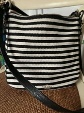 Kate Spade Cobble Hill Small Ella Black Cream Stripe Fabric Satchel Crossbody