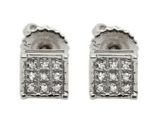 10K White Gold Square Genuine Round Diamond Ladies Men's Stud Earrings .08ct 5MM