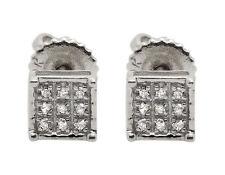 10K White Gold Square Genuine Round Diamond Ladies Men's Stud Earrings .08ct 5MM