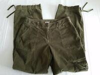J. JILL Women's Olive Green Corduroy Pants SIZE 10 Stretch Relaxed Leg Casual