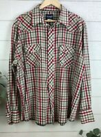 Vintage Wrangler Western Pearl Snap Button Up Long Sleeve Shirt Size XXL Plaid