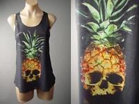 Pineapple Skull Head Graphic Punk Goth Biker Black Tank Top 132 mv Shirt S M L