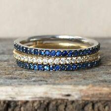 Women's Full Eternity Engagement Ring 2 ct Blue & White Sapphire 925 Silver