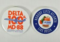 LOT of 2 RARE DELTA Airlines Pinback Buttons Advertising MD-88 & Atlanta