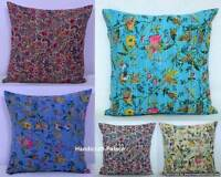 """16"""" Indian Cushion Pillow Cover Kantha Throw Floral Pillow Case Ethnic Decor Art"""