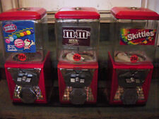 3 Gum Ball Vending Machines Mounted On Steel Plate - L@@K