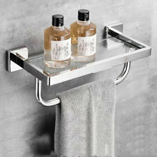 SUS304+Glass Bathroom Shelf with Towel Bar Wall Mounted Shower Storage 12 inches