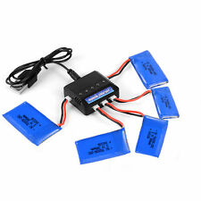 Charger + 5Pcs 3.7V 380mAh 25C Lipo Battery for Hubsan X4 H107D H107C BC537