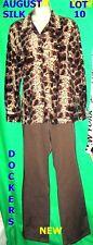 New M lot August Silk snake Dockers secretary lizard blouse career top pants