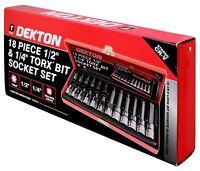 """Dekton 18 Piece 1/2"""" & 1/4"""" Drive Torx Bit Socket Ratchet Set With Case DT85151"""