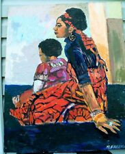 MOTHER & CHILD  by RUTH FREEMAN ACRYLIC ON UNSTRETCHED CANVAS 24 X 30