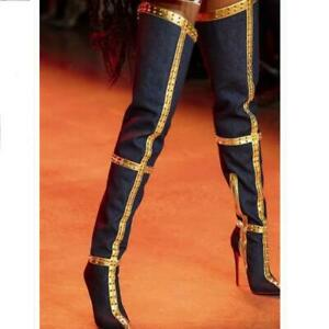 Hot Ladies Pointy Toe Slim Super High Heel Spikes Over The Knee High Boots Party