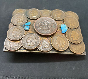 Indian Head Pennies Large One Cent Turquoise Belt Buckle Really Unique