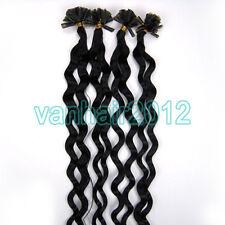 "20"" Pre Bonded Nail U Tip Keratin Fusion Remy Human Hair Extension 100s Curly"