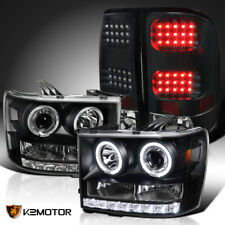 07-13 GMC Sierra 1500 25/3500HD LED Black Halo Projector Headlights+Tail Lamps