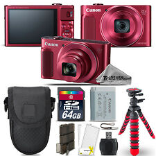 Canon PowerShot SX620 HS Digital Camera (RED) + Spider Tripod + Case - 64GB Kit