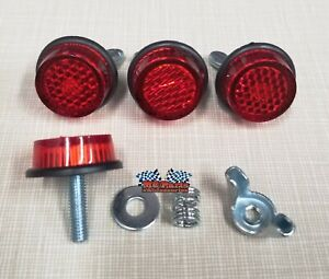 Red TAG Reflector Motorcycle License Plate Bolts - Set of 4 - Made in USA