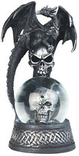 "CRONIES in BLACK  Dragon on Snow Globe - Skull  Statue figurine  H7.88"""