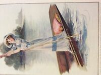m4-8b ephemera 1912 book plate girl punting on the river sherie