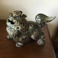Vintage / Antique Chinese Cast Iron Fierce Foo Dog Incense Burner Censer