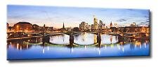 Leinwand Bild Frankfurt Skyline Panorama Altstadt Main Spiegelung Lichter Wasser