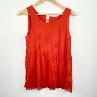 Anthropologie Vanessa Virginia Red Pleated Tank Top Blouse Women's Size 6