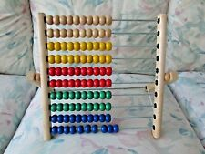IKEA Abacus Math 100 Colored Beads Wood Frame Educational Toy