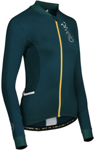 RIVELO Womens Woodvale Light Long Sleeve Cycling Jersey (Petrol/Yellow) RRP £100