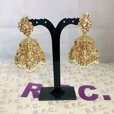 Gold pearl Jhumka Earrings polki Partywear Pakistani Jewellery Bollywood Style