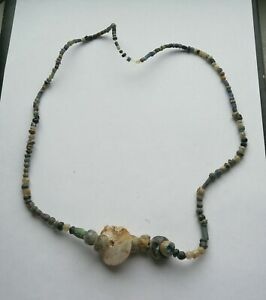 LOVELY GROUP OF ANCIENT VIKING DECORATED LINK GLASS BEADS VERY RARE