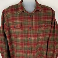 Orvis Mens XXL 2XL Flannel Shirt Red Green Plaid Long Sleeve Pockets Cotton