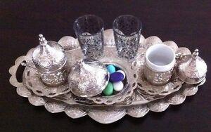 Turkish Coffee Water Tea Set Zamac Mugs Porcelain Glass Cups Gold Silver Copper