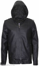 Faux Leather Hooded Biker Jackets for Men