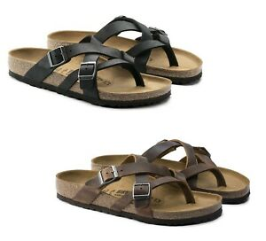 BIRKENSTOCK TEMARA TABACCO BLACK THONGS LEATHER WOMEN'S MEN'S THONG SANDALS