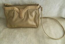 Palizzio Beige Leather Handbag W/Snakeskin Trim on Front