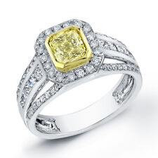 1.62Ct Canary Radiant Cut Diamond Engagement Ring