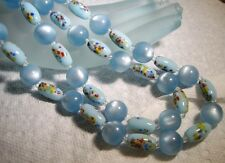 Vintage CONFETTI Satin Moonglow Lucite BIB Necklace~JAPAN