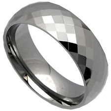 Highly Polished TUNGSTEN CARBIDE Diamond Faceted BAND RING, size 9 - in Gift Box