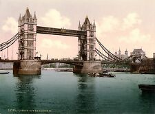 Vintage  Photochrome Photo Reprint Tower Bridge  London A4